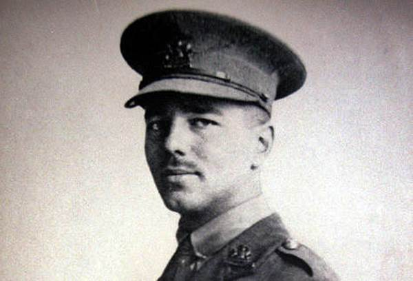 Wilfred Owen in uniform as a 2nd Lieutenant