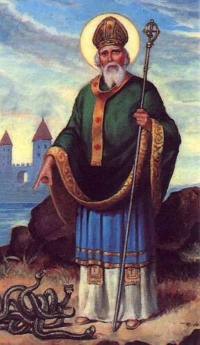 St Patrick depicted with the snakes that he drove into the sea