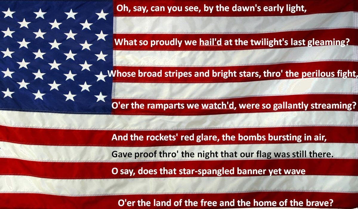 The Stars and Stripes with the Star Spangled Banner words by Francis Scott Key
