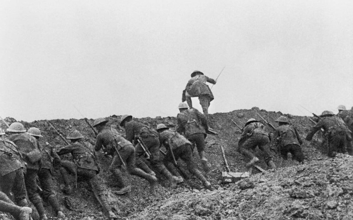 Over the top: Thousands of British soldiers scrambled out of their trenches and were dead within minutes