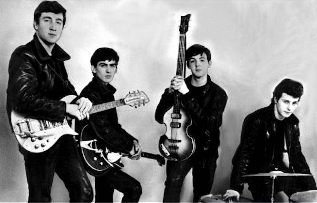 The original Beatles line-up: John Lennon, George Harrison, Paul McCartney and Pete Best on drums