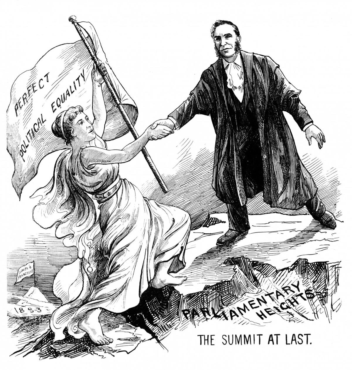 Women gained the vote in New Zealand in 1893, the summit at last.