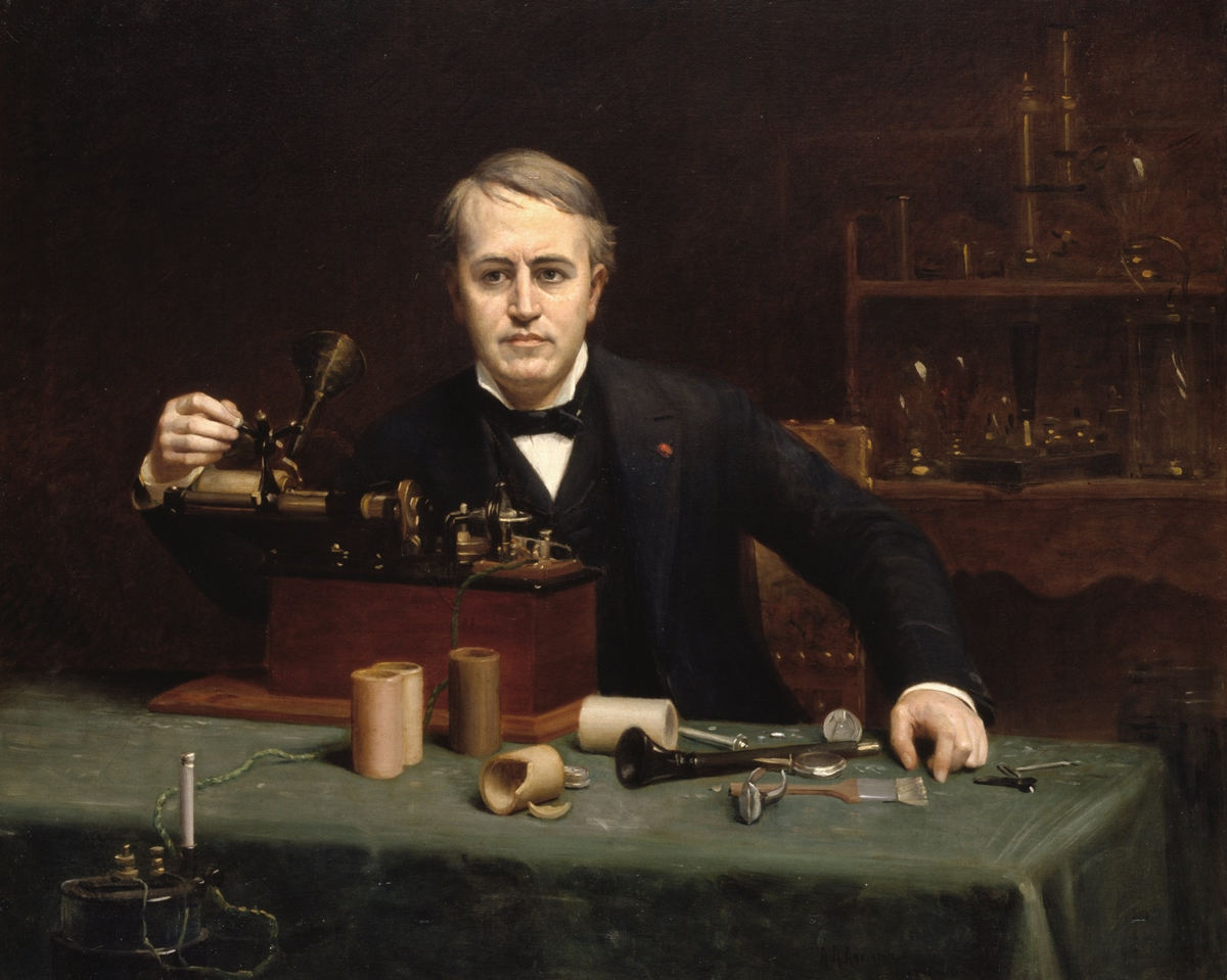 An 1890 portrait of Thomas Edison working in his laboratory by artist Abraham Archibald Anderson