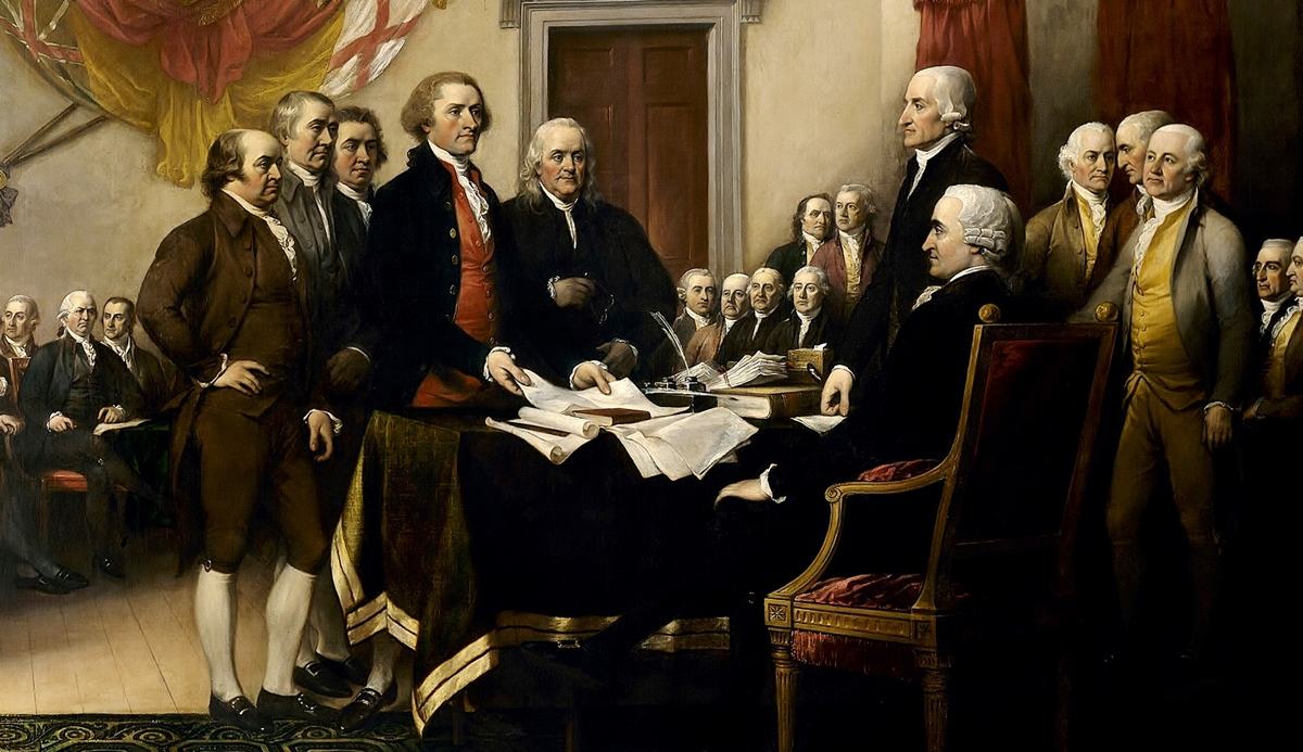 Thomas Jefferson presents the Declaration of Independence to John Hancock, president of the Congress. This painting by John Trumbull is kept in the Capitol building in Washington DC.