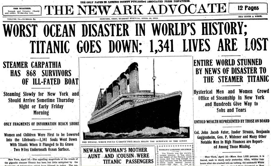 How one American newspaper reported the Titanic disaster