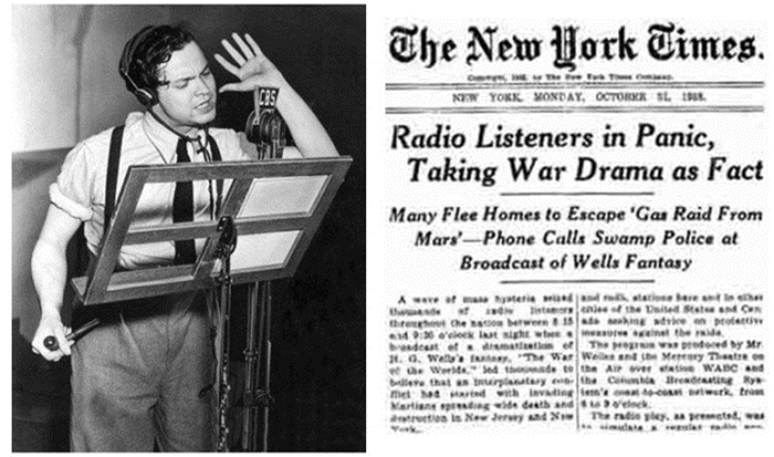 Orson Welles at the microphone and how the New York Times reacted to the broadcast