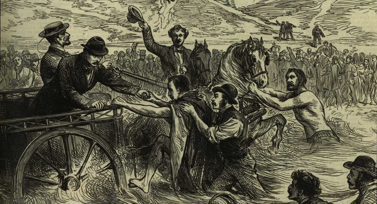 An artist from the Illustrated London News drew this scene depicting Captain Webb's arrival at Calais