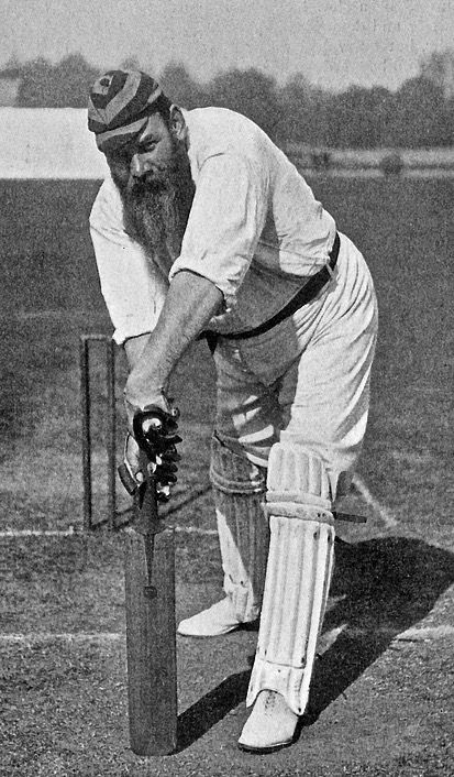 Legendary cricketer WG Grace plays forward with his typical straight bat in 1878