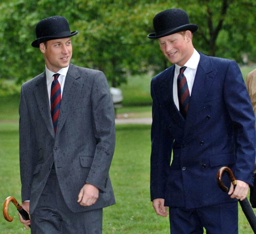 William and Harry on parade in their bowlers. Photo: Stefan Rousseau/AP