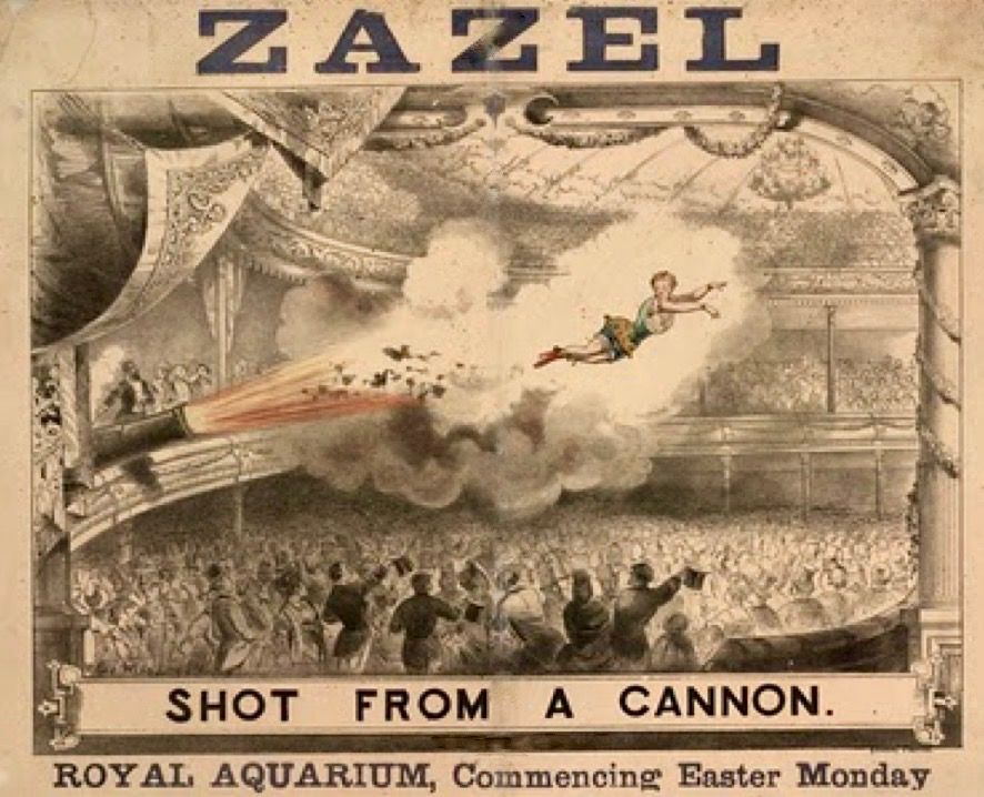 """Zazel"" makes her spectacular entrance over an astonished crowd"