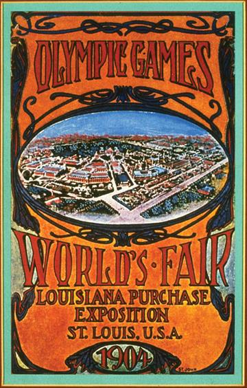 Poster promoting the 1904 summer Olympic Games in St. Louis