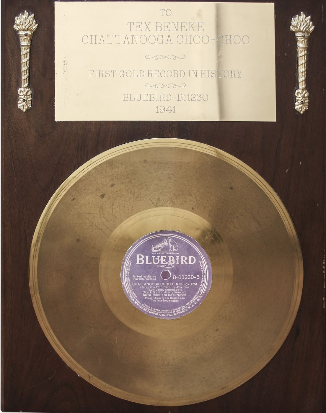 "The 1st ever gold record was awarded to ""Chattanooga Choo Choo"" by the Glenn Miller Orchestra - this one was presented to the group's drummer, Tex Beneke"