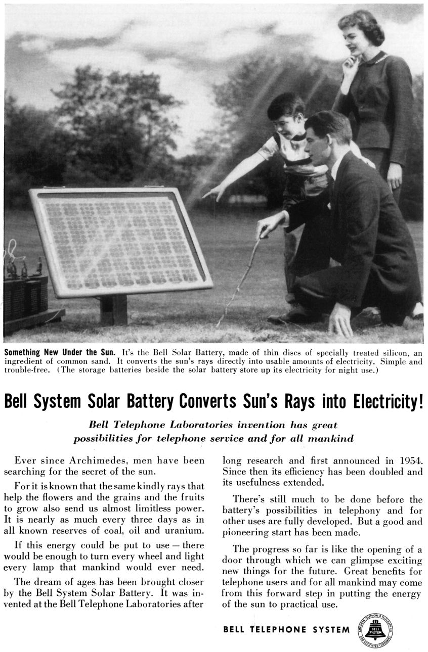 Magazine advert for Bell Labs' new invention, the solar battery