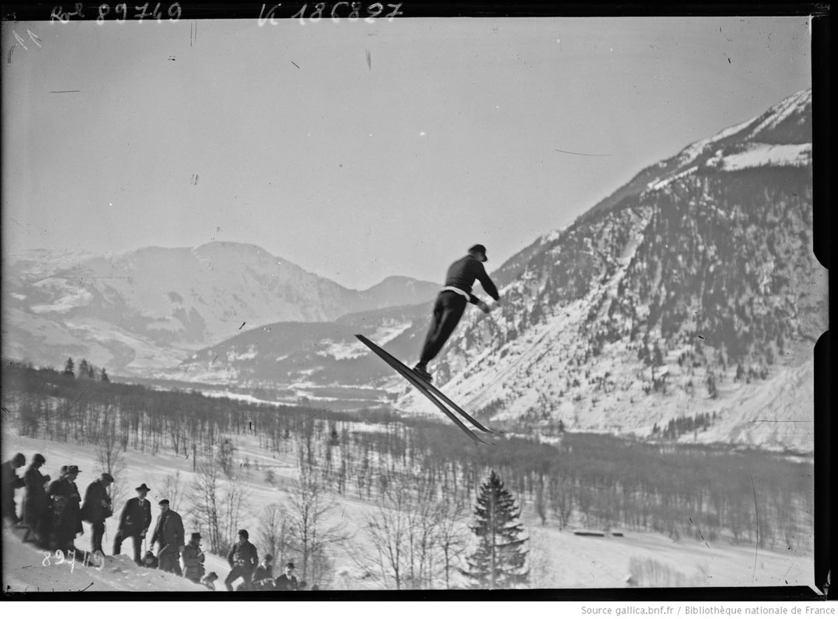 Einar Landvik, Nordic skier from Norway, competes in the first-ever Winter Olympics in Chamonix, France, 1924