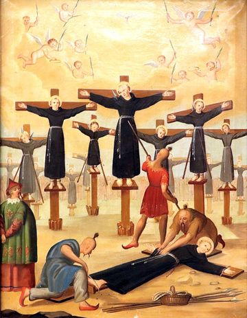 A painting in a Prague church commemorating the 1597 crucifixion of the 26 Catholic martyrs of Japan in Nagasaki