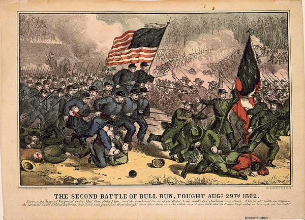 The Second Battle of Bull Run in Manassas, Virginia, fought August 29, 1862