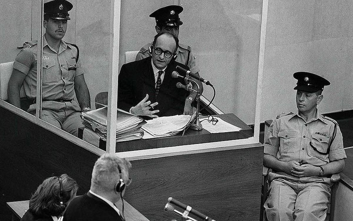 Nazi war criminal Adolf Eichmann sits in the dock at his 1961 trial in Jerusalem