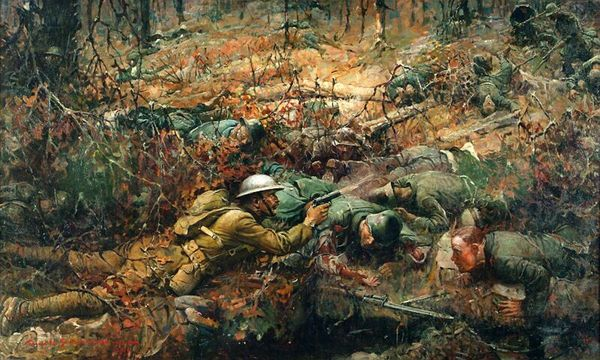 Painting of Sergeant Alvin York firing at the German soldiers in France