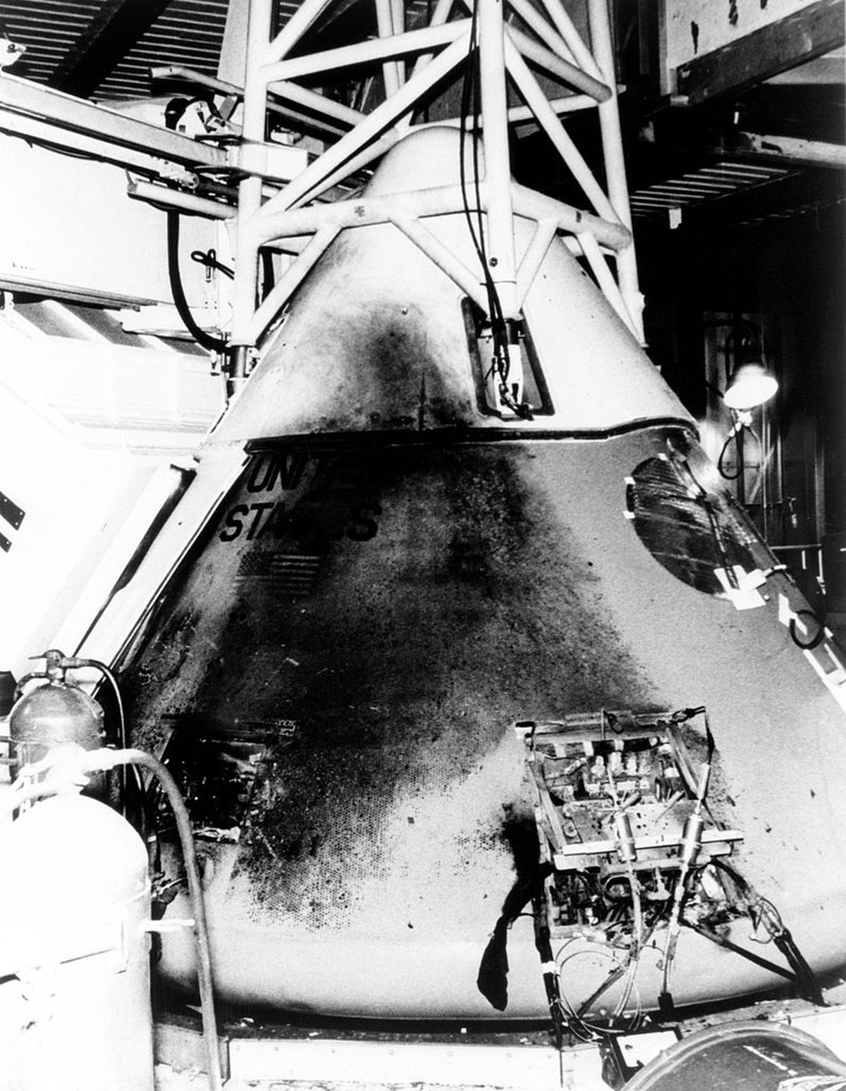 The command module of Apollo 1 the day after the fatal fire that killed 3 astronauts