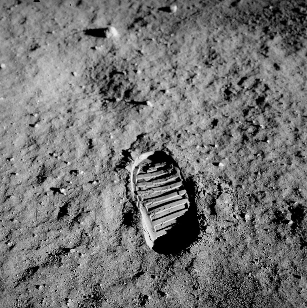 Buzz Aldrin's bootprint, one of the first steps taken on the Moon