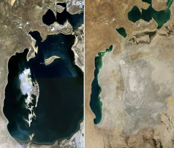 The Aral Sea in 1989 (left) and in 2014 (right)