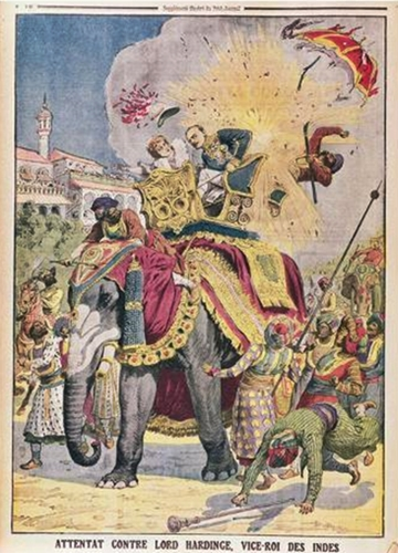 An assassination attempt on Lord Charles Hardinge (1858-1944) Viceroy of India, illustration from 'Le Petit Journal'