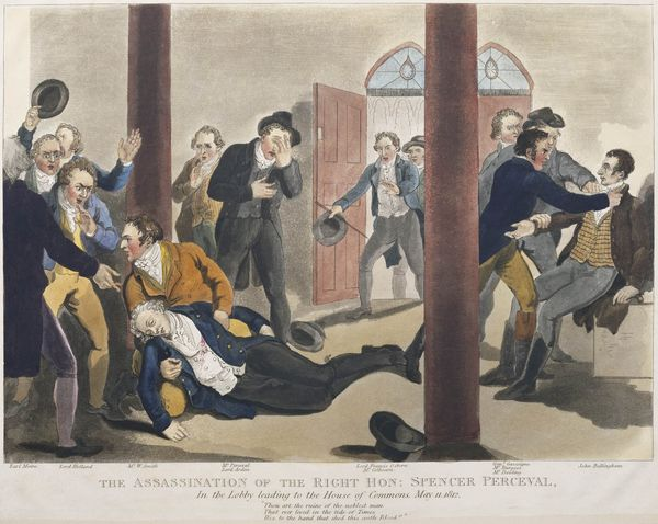 British Prime Minister Spencer Perceval is assassinated by John Bellingham, drawing by John Heaviside Clark