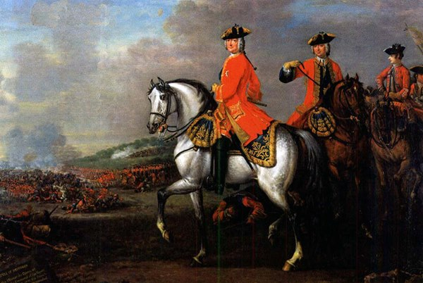 King George II with the Duke of Cumberland at the Battle of Dettingen