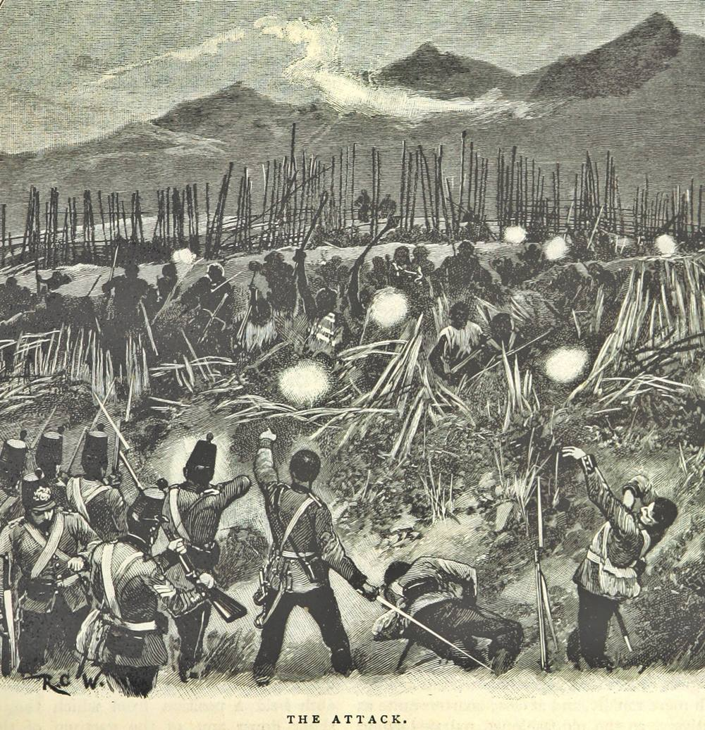 Māori and British troops clash at the pā