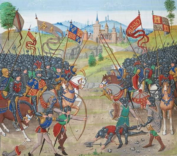 The Battle of Navarrete, fought near Nájera, with John of Gaunt, the Black Prince, and Pedro the Cruel allied (to the left of the image) against Henry II of Castile and the French