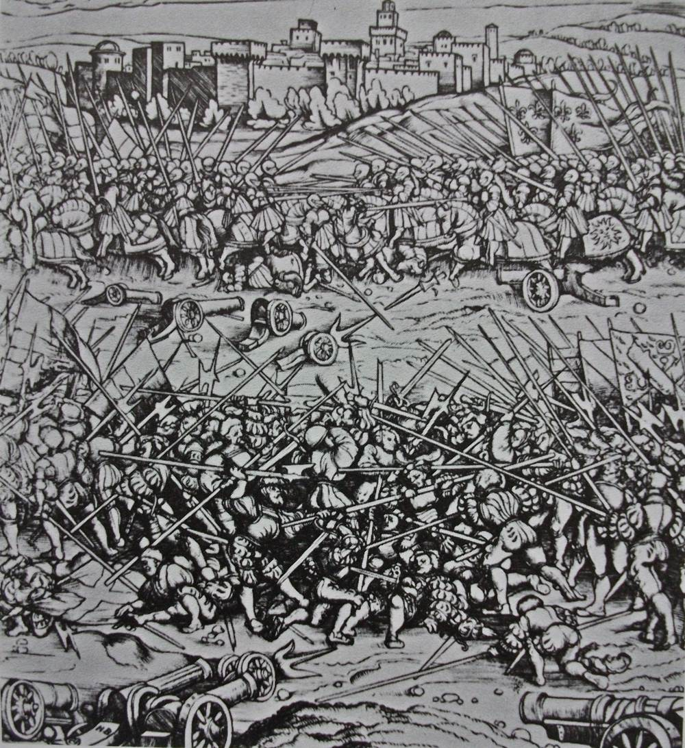 The Battle of Ravenna, fought between forces of the Holy League and France
