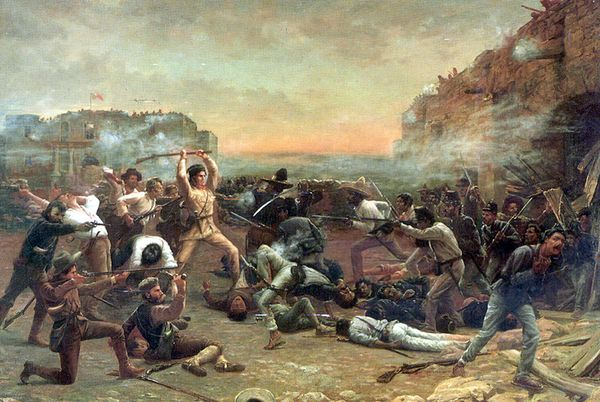 The Fall of the Alamo by Robert Jenkins Onderdonk shows folk hero Davy Crockett shortly before being killed by Mexican soldiers