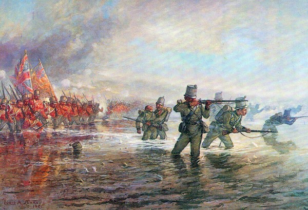 2nd Rifle Brigade leading the Light Division across the river at the Battle of the Alma on 20th September 1854 during the Crimean War