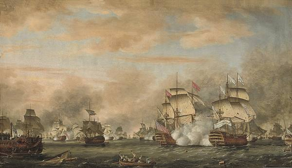 The French flagship, the Ville de Paris on the right, in action against HMS Barfleur