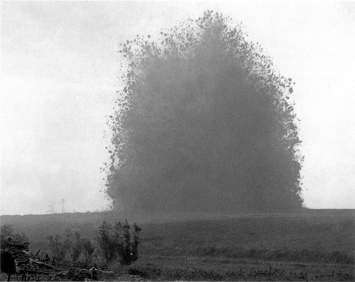 A large mine placed by a British tunneling unit explodes under German positions on the first day of the Battle of the Somme. At the time it was one of the largest explosions ever and one of the loudest man-made noises.