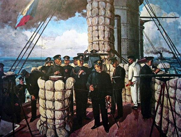 Admiral Tōgō Heihachirō on the bridge of Mikasa, at the beginning of the Battle of Tsushima in 1905.