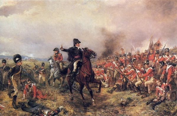 'Wellington at Waterloo', by Robert Alexander Hillingford, depicting Arthur Wellesley, Duke of Wellington, during the final confrontation against Napoleon