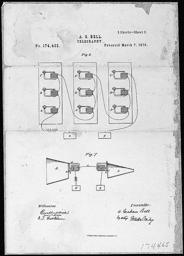 The original drawing filed with Thomas Edison's patent application for the telephone