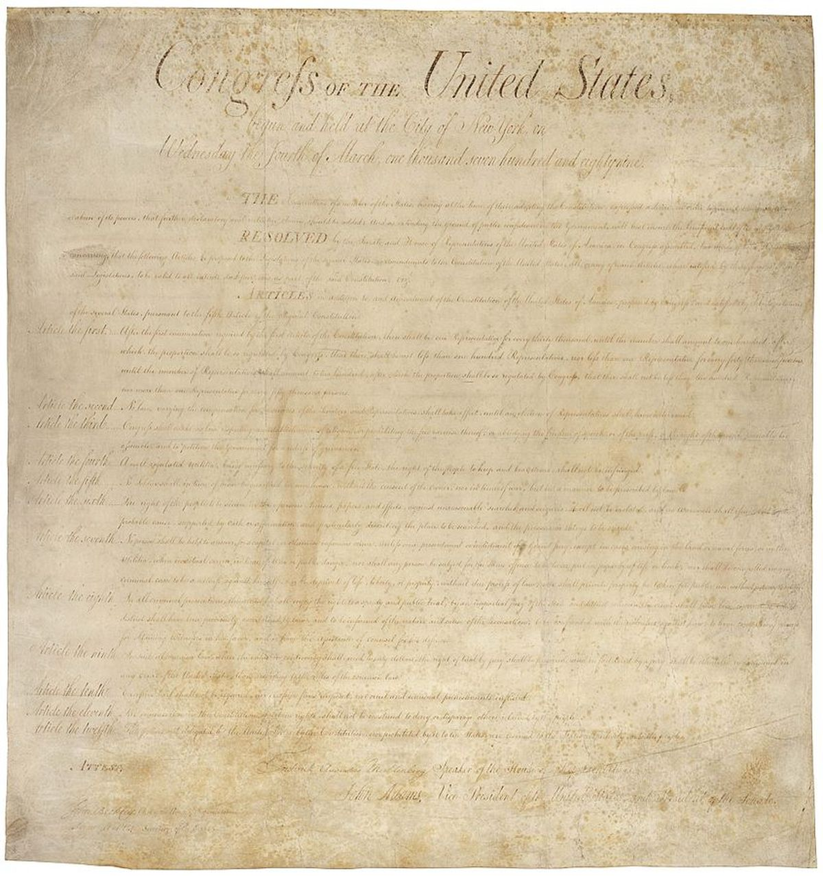 The bill of rights as it was created on September 25, 1789