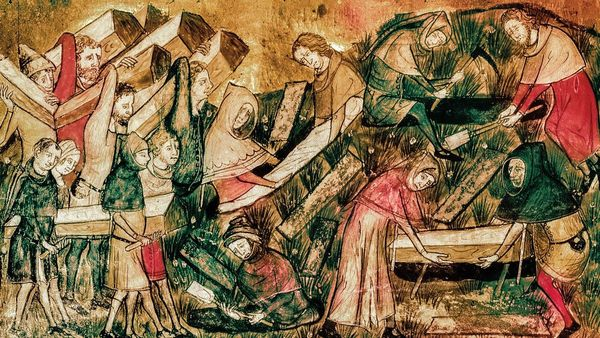 Medieval painting from 1353 showing the citizens of Tournai (today in Belgium) burying victims of the Black Death
