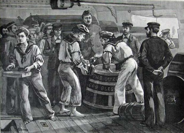 Royal Navy sailors lining up for their daily rum ration
