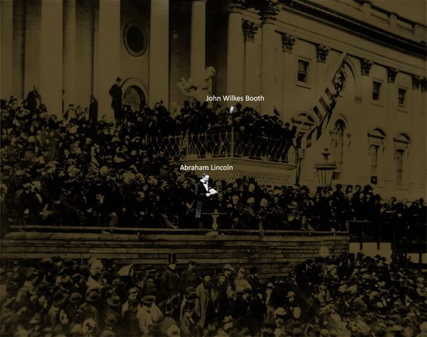 A photo of Abraham Lincoln's second inauguration in 1865, highlighting the location of his eventual assassin John Wilkes Booth as Lincoln makes his speech
