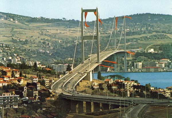 The Bosphorus Bridge, Istanbul that connects the continents of Europe and Asia