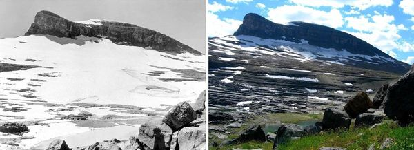 Boulder Glacier in Montana as it appeared in 1932 (left) and 2005 (right)