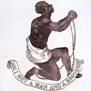 'Am I Not a Man and a Brother?' emblem used by some abolitionists determined to end the slave trade in the British Empire