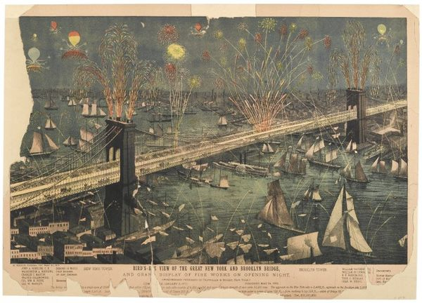 Lithograph depicting fireworks on the opening night of the Brooklyn Bridge
