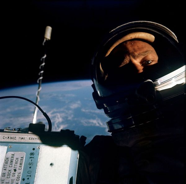 Buzz Aldrin takes the first 'space selfie' during the Gemini 12 mission in 1966