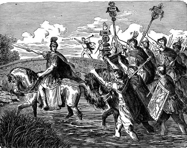 An illustration of Julius Caesar crossing the Rubicon River into Italy, signalling the beginning of the civil war in Rome