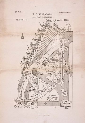Patent drawing for Burroughs's calculating machine, 1888
