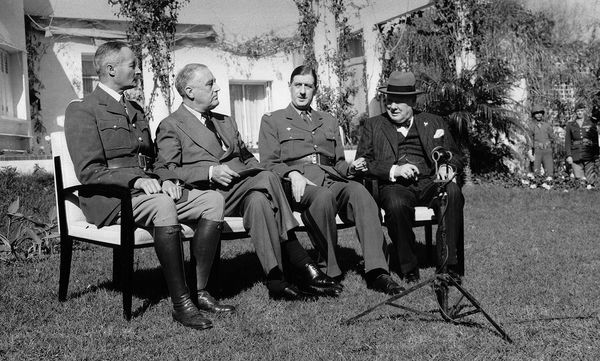 Henri Giraud, Franklin D. Roosevelt, Charles de Gaulle and Winston Churchill at the Casablanca Conference